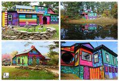 Casas muito coloridas...gosto muito!  Veja mais em http://www.comofazer.org