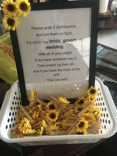 Sunflower themed bridal shower clothespin game OFF our wedding invitation card, wedding games, wedding gift ideas from our store. Bridal Shower Planning, Wedding Shower Games, Bridal Shower Party, Bridal Shower Decorations, Themed Bridal Showers, Wedding Theme Games, Country Wedding Games, Bridal Shower Crafts, Wedding Shower Activities