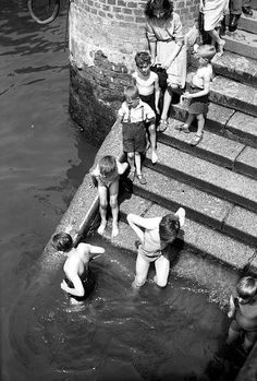 Children bathing in the River Thames, 1950s