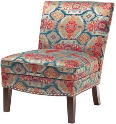 ModHaus Living Contemporary Red Blue Ikat Print Upholstered Armless Accent Chair with Nailhead Trim and Dark Wood Legs - Includes Pen Red Accent Chair, Armless Accent Chair, Accent Chairs, Swivel Barrel Chair, Swivel Armchair, Chair And Ottoman, Kilim Ottoman, Living Room Chairs, Living Room Furniture