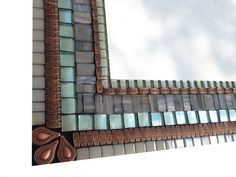 Gray Copper and Aqua Mixed Media Mosaic Wall by GreenStreetMosaics