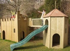 The All Out Play Castle and Tower Combination Wooden Playhouse will give your child endless hours of fun. Be the centre of your neighbourhood with this massive wooden playhouse. Childrens Wooden Playhouse, Kids Playhouse Plans, Build A Playhouse, Playhouse Outdoor, Cubby Houses, Play Houses, Castle Playhouse, Wooden Climbing Frame, Wooden Castle