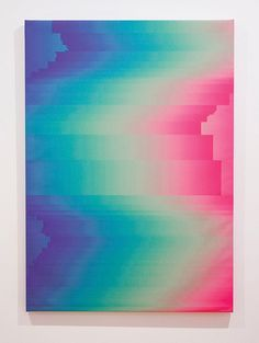 Colorful glitch artwork of Spanish artist Manuel Fernández. UV paint on canvas