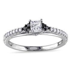Miadora 10k Gold 1/2ct TDW Black and Diamond Engagement Ring