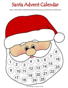 Christmas Santa Advent Calendar- Count down to Christmas day by gluing a cottonball to each circle in Santa's beard. Dot marker, craftivity, and black and white versions included! Use as cotton ball or white tissue paper craft or for dot marker holiday fun!