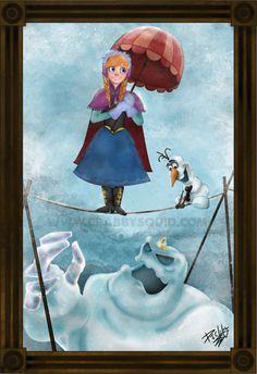 Frozen Anna Haunted Mansion Stretching Portrait Fan Art 13 x 19 inch poster.