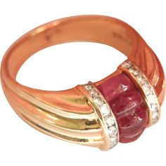 Lovely 14K Gold Scott Kay Carved Pink Tourmaline Diamond Ring Scott Kay, Brilliant Diamond, Pink Tourmaline, Ruby Lane, Beautiful Hands, Natural Gemstones, Hand Carved, Jewelry Rings, Wire