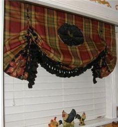Custom Red Gold French Country Toile Black Rooster Valance