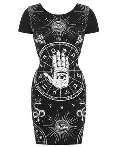 Jawbreaker Zodiac Mini Dress Black Goth Witchcraft Occult Tattoo #Jawbreaker #Goth #Casual