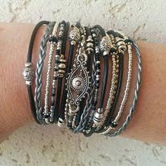 Bracelet Evil Eye / / multirang Bracelet en cuir / / Bracelet Wrap très tendance / / Bracelets d