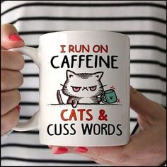 I run on caffeine, cats and cuss words. - Tap the link now to see all of our cool cat collections! - Tap the link now to see all of our cool cat collections! I Love Cats, Cute Cats, Funny Cats, Cats Humor, Funny Horses, Adorable Kittens, Funny Animal, Coffee Shop, Coffee Cups