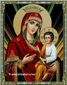 Virgin Mary with Jesus – Art Basket – en Religious Photos, Religious Art, Religious Cross Stitch Patterns, Famous Freemasons, Church Icon, Mama Mary, Jesus Art, Mary And Jesus, Madonna And Child