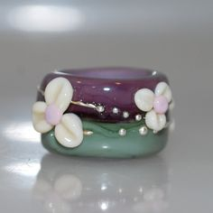 Glass Dread Bead Purple and Green Forest Flowers with 12mm hole :: Shop DreadStop.Com for Leather Dreadlock Cuffs, Ties & Dread Beads #dreadstop