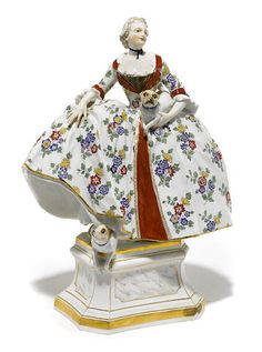 A Meissen porcelain figure of a lady late 19th century