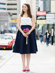The Isabelle skirt is the ideal midi skirt. It is made from flawless neoprene which perfectly holds its shape and structure. Chiffon Skirt, Midi Skirt, Summer Skirts, Classy And Fabulous, Feminine Style, Fashion Pants, Tutu, Trending Outfits, Navy Blue