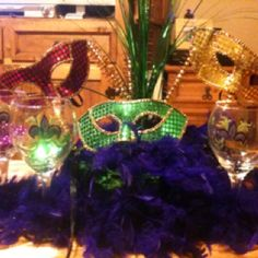 Mardi GRAS table decor mostly from dollar tree!