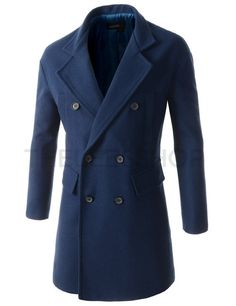 (DMC06-BLUE) Mens Loose Fit Notched Lapel Double Breasted 6 Button Quilt Lining Coat