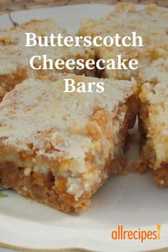 Butterscotch Cheesecake Bars I made as written Turned out awesome Many yummy complements Dessert Dishes, Cookie Desserts, Dessert Bars, Just Desserts, Cookie Recipes, Delicious Desserts, Dessert Recipes, Icebox Desserts, Awesome Desserts