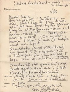 HEPWORTH BARBARA: (1903-1975) English Sculptor & Artist. A.L.S., Barbara, one page, 4to, Trewyn Studio, St Ives, Cornwall, 1st March 1966, to Warren. Hepworth enquires as to how her correspondent is and states that her own illness has resulted in her doctor advising that she shouldn't travel to attend the opening of her exhibition at Marlborough Gerson the following week, adding 'I hope you have your card & can go dear Warren & report to me (& maybe send me a photo?',