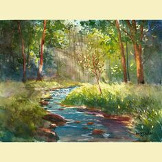 watercolor landscape painting PRINT creek and tree summer trees with creek water light watercolour GICLEE reproduction13X18, via Etsy.