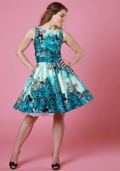 Teal Rose Floral Border, flared party dress by Lady Vintage.  Buy now from Miss Windy Shop: www.misswindyshop.com