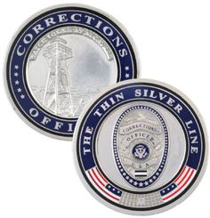Thin Silver Line Corrections Officer Challenge Coin