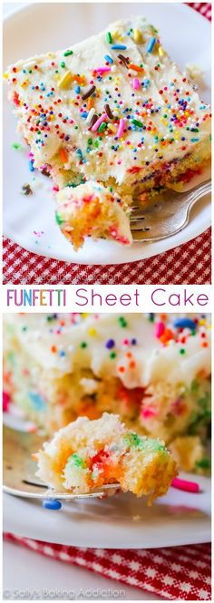 Vanilla frosted funfetti sheet cake dessert recipe by sally's baking addiction - so festive and perfect Sheet Cake Recipes, Dessert Cake Recipes, Just Desserts, Vanilla Sheet Cakes, Yummy Treats, Sweet Treats, Sallys Baking Addiction, Funfetti Cake, Let Them Eat Cake