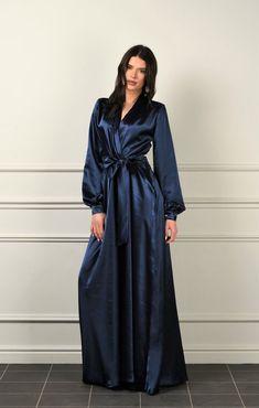 Women Lingerie Pajamas Postpartum Mesh Underwear Female Sleepwear Plus – watermelontal Satin Bleu, Blue Satin, Casual Dresses, Fashion Dresses, Jolie Lingerie, Maxi Robes, Necklines For Dresses, Sleepwear Women, Satin Dresses