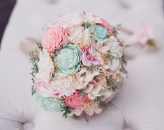 Romantic Wedding Bouquet Small Natural Sola by CuriousFloral