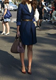 Blue Plain Pockets Turndown Collar Fashion Midi Dress - Dresses