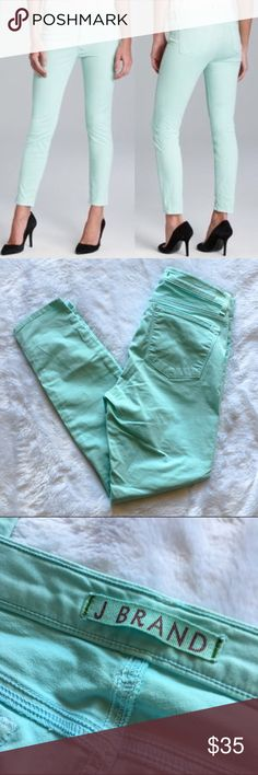 "J Brand Heaven Capris Cropped skinnies from J Brand in the color aqua (mint green). Features faux pockets in the front, functional pockets in the back, and a quality stretchy material (98% cotton and 2% lyrca). Size 28 but I feel like they fit more like a 27 to me personally. 26"" inseam. There are two small imperfections to the back area on the seems from rubbing (pictured above). They are not very noticeable. No trades. I've listed these at my lowest price point I can accept so my listing…"