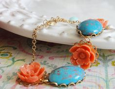 Coral and Turquoise Bracelet  Urban Vintage by rosesandlemons