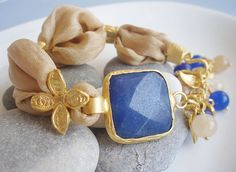 Blue / Gold Turkish Silk Bracelet - Blue Jade and Gold / Caramel Silk