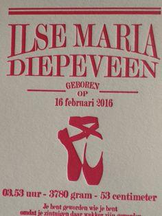 #letterpress #geboortekaart # pink #geboortekaartenonline.nl