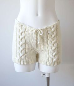 Hand knitted cute cable knit shorts in cream white by fuzzybazooke, $72.00