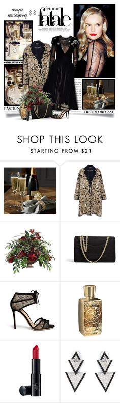 """Happy New Year Eve"" by thewondersoffashion ❤ liked on Polyvore featuring Rochas, Elsa Schiaparelli, Chanel, Gianvito Rossi, Lancôme, Laura Geller and Elise Dray"