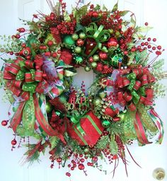 2 Christmas wreaths custom order for Erika by WreathsbyKimberly