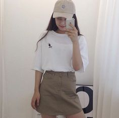 Korean fashion, skirt, cap, simple