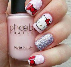50 Cute Bow Nail Art Designs - Be Modish : hello kitty bow nail art bmodish Hello Kitty Bow, Hello Kitty Nails, Bow Nail Art, Cute Nail Art, Diy Nails Stickers, Kawaii Nails, Cat Nails, Super Nails, Nagel Gel
