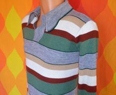vintage 60s polo sweater golf soft STRIPES knit shirt v neck collared gray green Small alfie 70s california. $22.00, via Etsy.