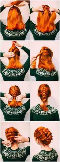 Faux braid updo for shorter hair (click-through for the full tutorial)