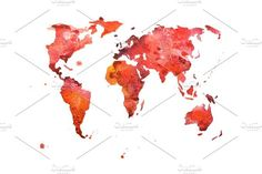 Hand drawn watercolor world map aquarelle illustration.. Water Infographic