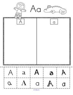 ALPHABET SORT - upper and lower case with varying fonts - cut & paste. Full alphabet, all printables in b/w, 26 pages.