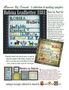 """""""Robina Leadbetter 1881"""" is the title of this cross stitch pattern from Needle Workpress."""