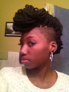 Shaved sides box braids