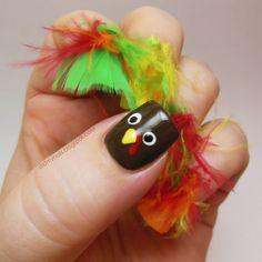 Thanksgiving handprint turkey nails
