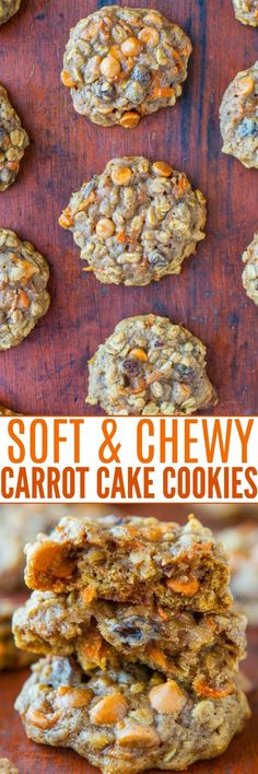 Soft and Chewy Spiced Carrot Cake Cookies - Spiced Carrot Cake Cookies — All the flavors of richly spiced carrot cake, but in cookie form! Soft, chewy, extremely moist, and not at all cakey! Carrot Spice Cake, Carrot Cake Cookies, Cookies Soft, Carrot Cakes, Drop Cookies, Cheesecake Desserts, Cookie Desserts, Cookie Recipes, Dessert Recipes
