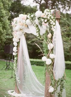 gorgeous romantic floral wedding ceremony arbor arch for vintage rustic weddings