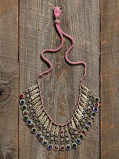 Free People Vintage Glass Bead Drop Necklace