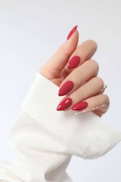 30 Eye-catching Red Nail Art Designs to Show Your Style; wine red… 30 Eye-catching Red Nail Art Designs to Show Your Style; Red Nail Art, Almond Acrylic Nails, Fall Acrylic Nails, Acrylic Nail Designs, Nail Art Designs, Almond Nails Red, Fall Nails, Nails Design, Black Nail